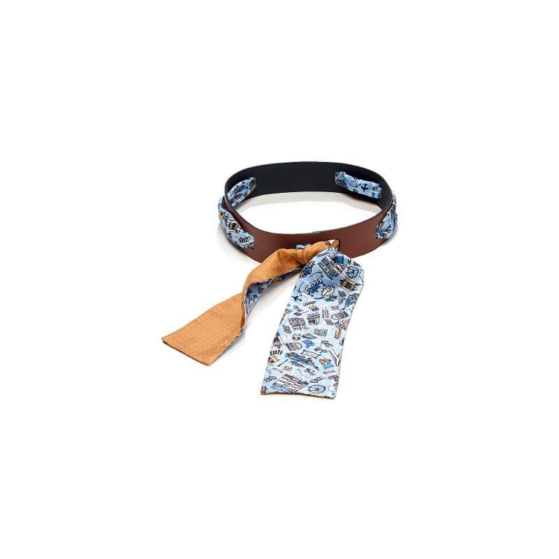 Twilly En Twill De Soie Imprimé Lyon Estival Et Mini Pois - Ciel Caramel - HIVER 21-22