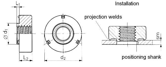 Self-clinching fasteners - PEM® - Weld nuts