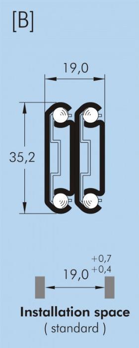 ITS 044 Full extension drawer slide 60 kg - 35,2 x 19 mm telescopic slide hot-dip galvanized steel length 200 - 700 mm