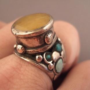 Bagues - Argent, turquoises, ambre, Nord de l'Inde