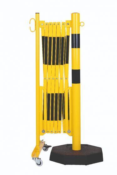 Barrière Extensible Jaune-noir 3,6m Avec Poteau Ø60mm Sur Socle - Barrières De Sécurité