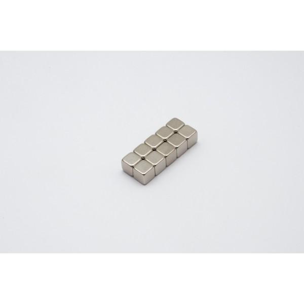 Cube magnet 5mm, Neodymium, N42, Ni-Cu-Ni, Nickel coated - null