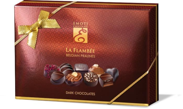 EMOTI Dark Chocolates, La Flambee 120g (bow decorated). SKU: -