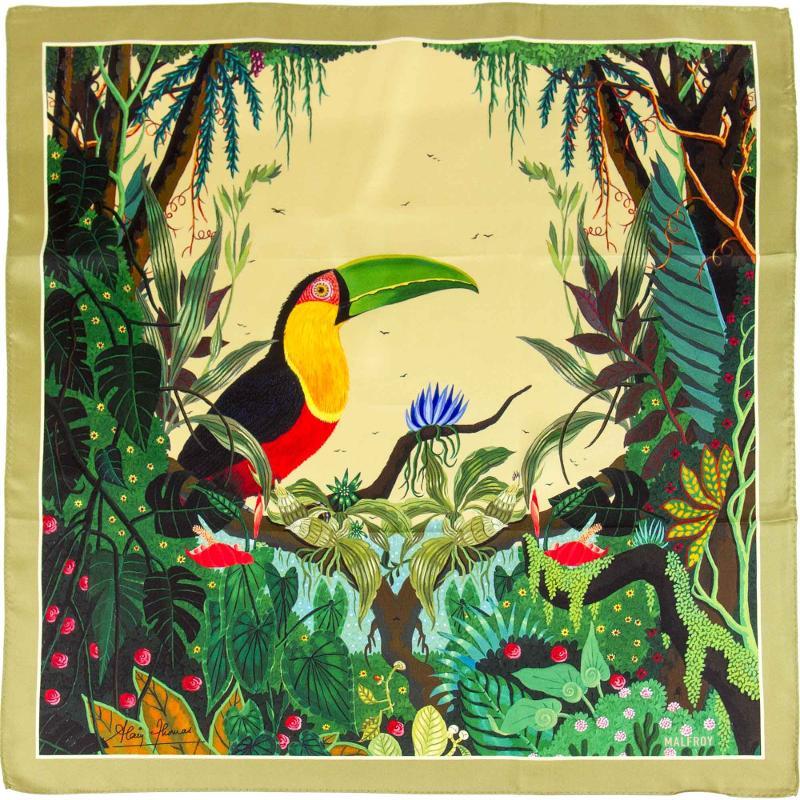 Petit Carré En Twill De Soie Imprimé Toucan De L'artiste Alain Thomas - Kaki - HIVER 21-22