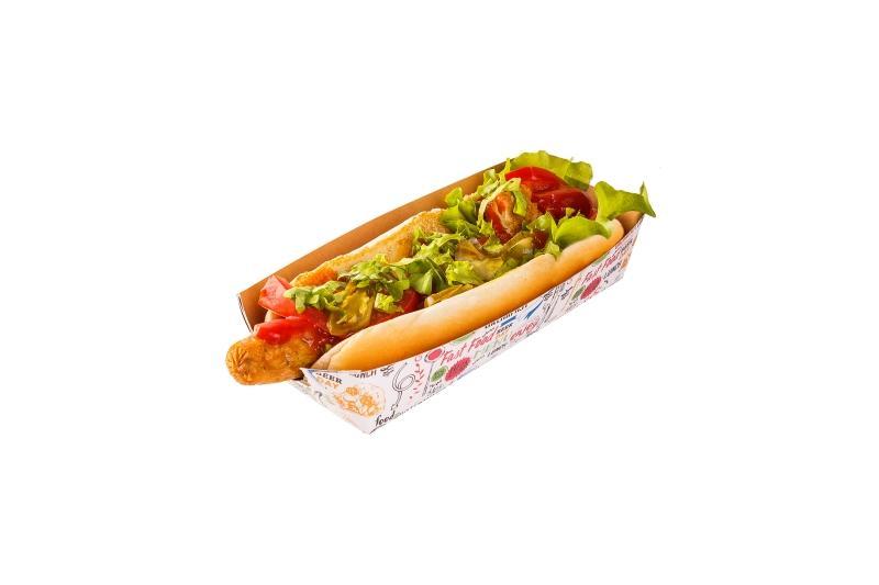 "Hot-dog tray «Enjoy» - Kraft trays for hot-dog with ""Enjoy"" print"