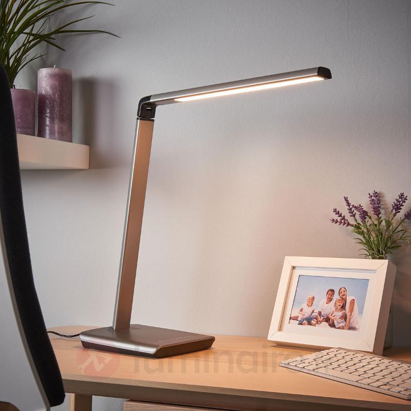 Lampe à poser LED grise Kuno, variateur, USB - Lampes de bureau LED