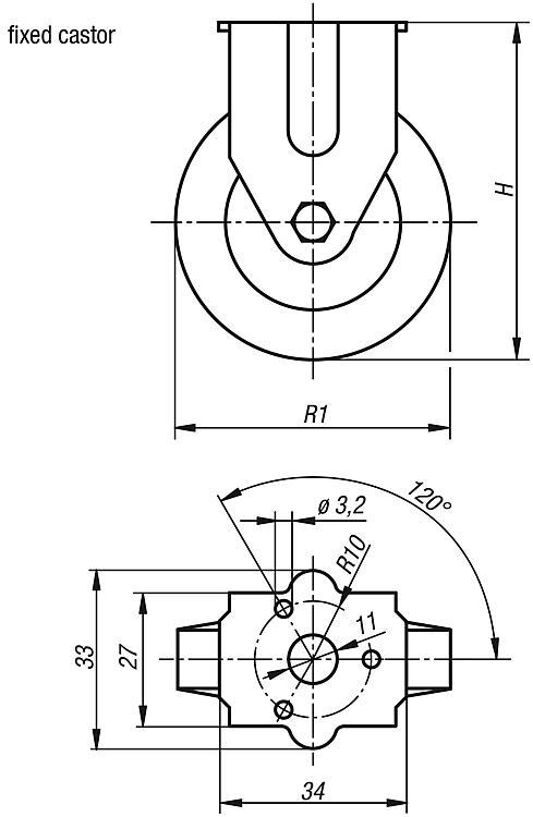 Swivel and fixed castors standard version - Wheels and rollers