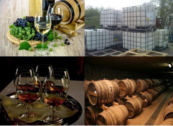 Вино, коньяк, коньячный спирт - Спиртные напитки высокого качества наливом и в различной таре.