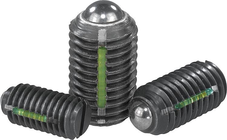 Spring plungers with slot and ball, LONG-LOK secured, steel - Spring plungers