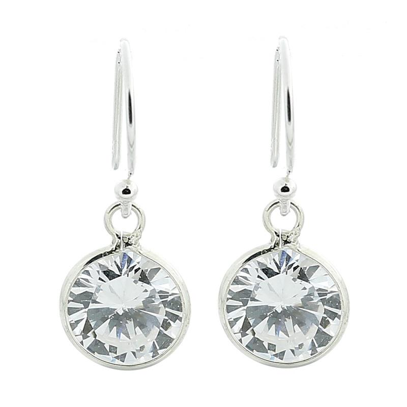 Cubic Zirconia Sterling Silver Dangle Earrings