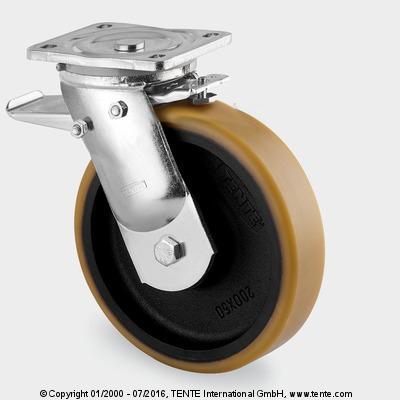 Roulettes forte charge - Roulettes pivotantes à blocage total, 9682FTP125P63