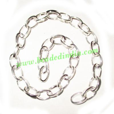 Silver Plated Metal Chain, size: 1.5x7mm, approx 19.3 meters - Silver Plated Metal Chain, size: 1.5x7mm, approx 19.3 meters in a Kg.