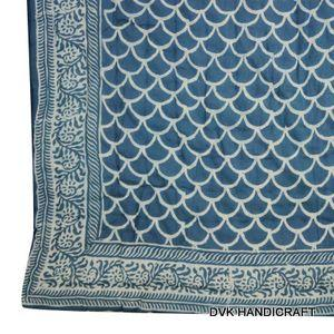 Indigo blue block printed kantha quilt, India kantha quilt - hand block printed cotton kantha quilt, india traditional indigo blue mudrasist