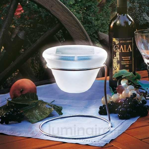 Lampe à poser solaire design inox