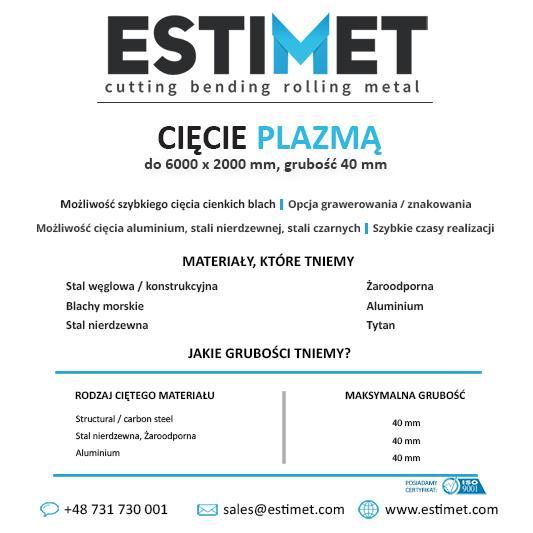 ESTIMET - oferta cięcia - Cięcie Laserem, Wodą, Gazem i Plazmą