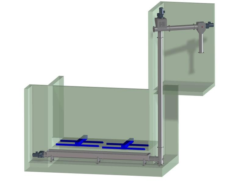 Holdings for push floors - Vertical conveyance with transfer to boiler