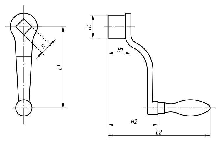 Manivelle dégagée similaire à DIN 468 - Volants, manivelles et poignées