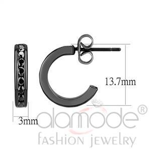 Fashion Earrings - IP Light Black (IP Gun) Top Grade Crystal Earrings