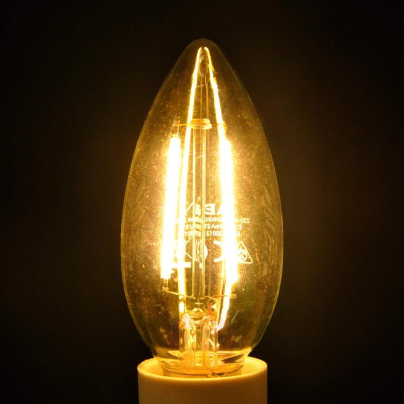E14 2.4 W 827 LED filament candle bulb, clear - light-bulbs