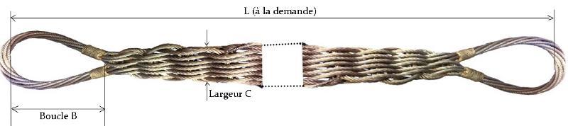 Elingues câbles - Elingue câble tresse plate