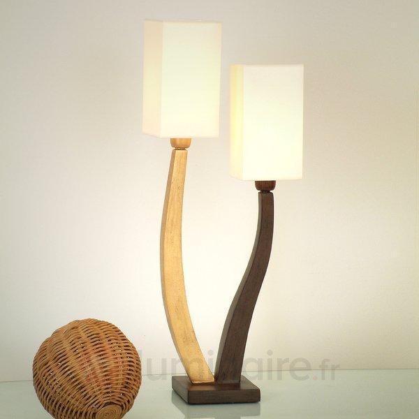 Jolie lampe à poser QUADRANGOLARE, dorée, 2 lps. - Lampes à poser en tissu