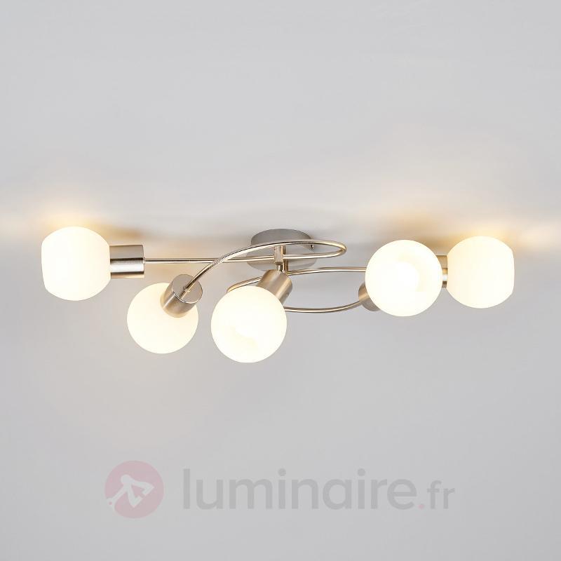 Beau plafonnier LED Elaina à 5 lampes, nickel mat - Plafonniers LED