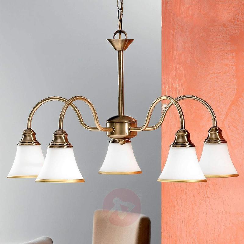Tilda Hanging Light Five Bulbs Old Brass Look - Pendant Lighting
