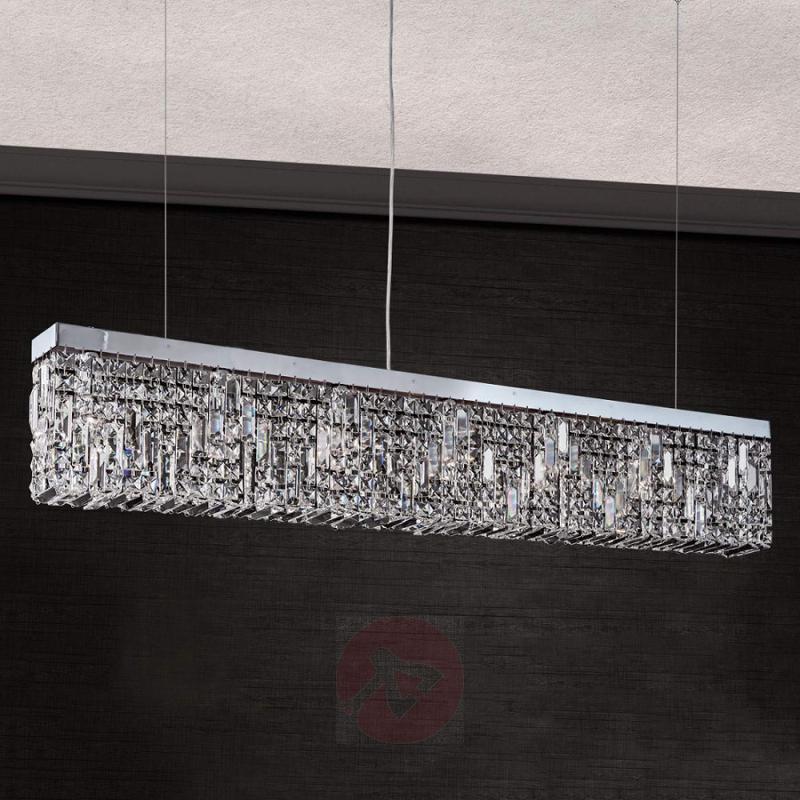 Elongated crystal hanging lamp Kalida in chrome - design-hotel-lighting