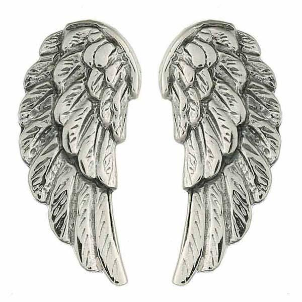 Antiqued Sterling Silver Angel Wings Stud Earrings - Product ID 16849