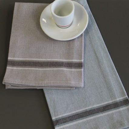 Linge de table : bavoirs et nappes - LOT DE 12 SERVIETTES DE TABLE CHAMBRAY COTON