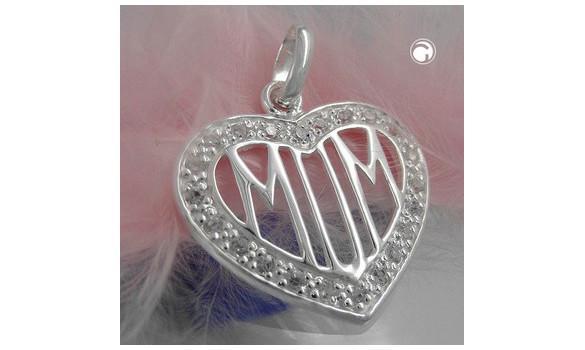 Pendentif  CZ-coeur MOM - Pendentif argent 925 CZ-cœur MOM