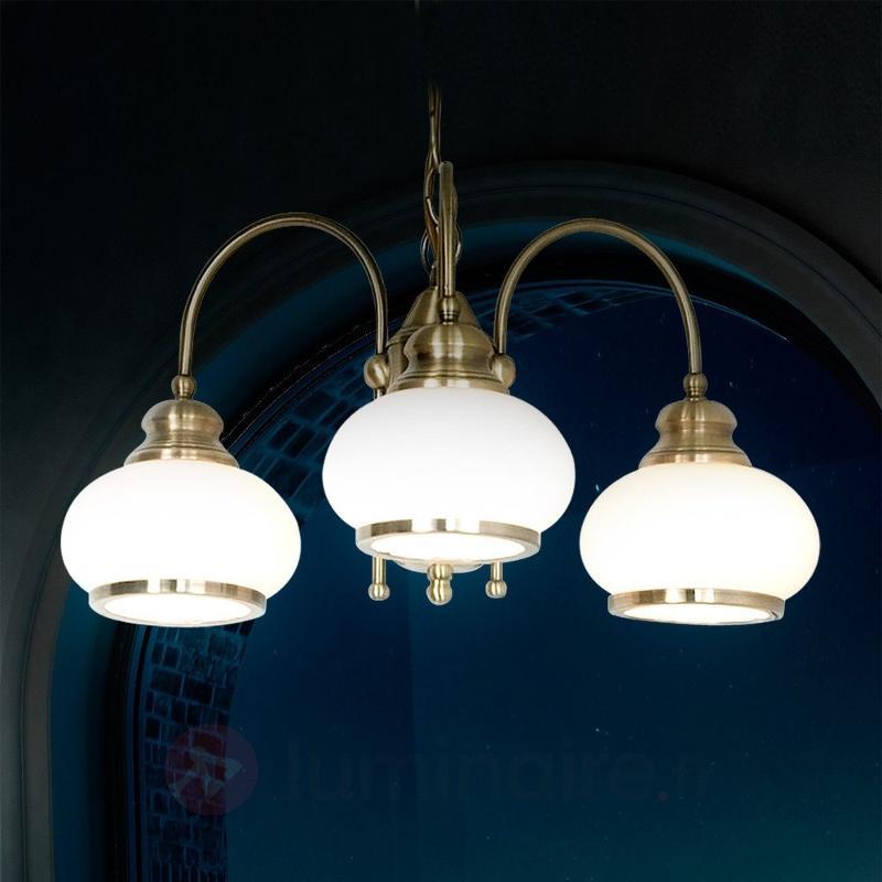 Suspension NOSTALGIKA à 3 lampes en laiton ancien - Suspensions classiques, antiques