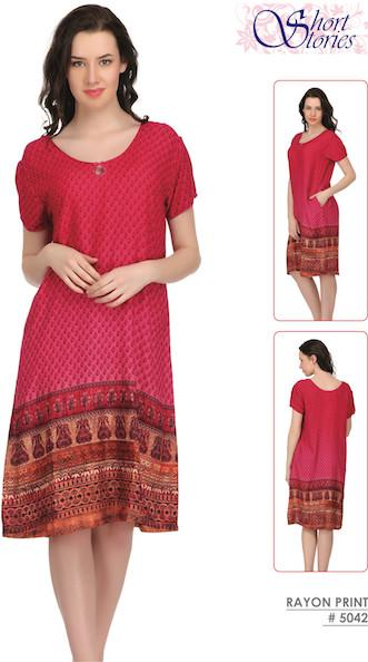 Rayon Printed Indian Nighty #5042