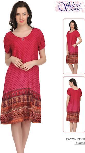 Rayon Printed Indian Nighty 5042
