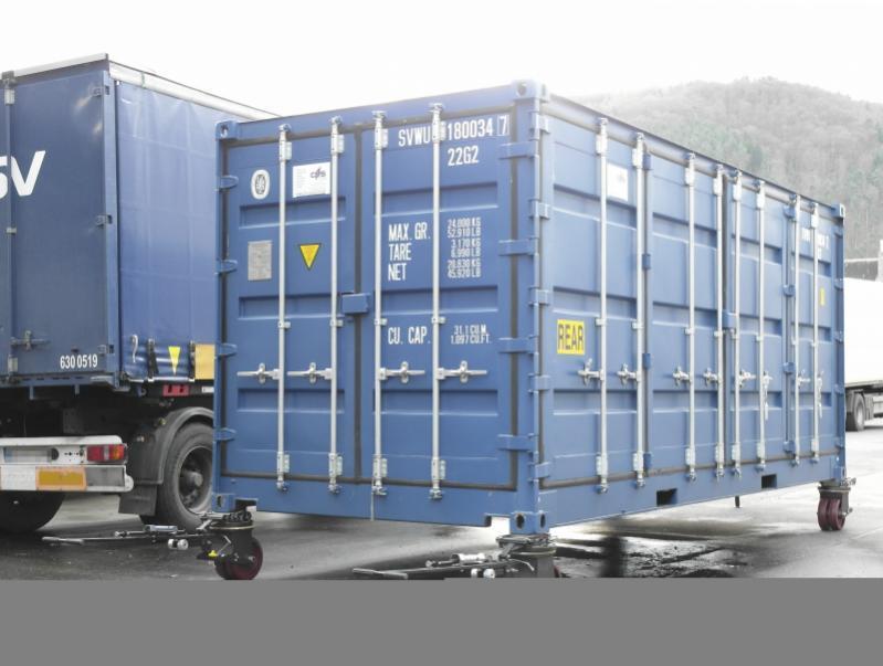 Jeu de roues pour conteneurs 4336 - 16 t - Rouleaux de conteneur 4336 - 16 t, déplacer le conteneur sur un sol pavé