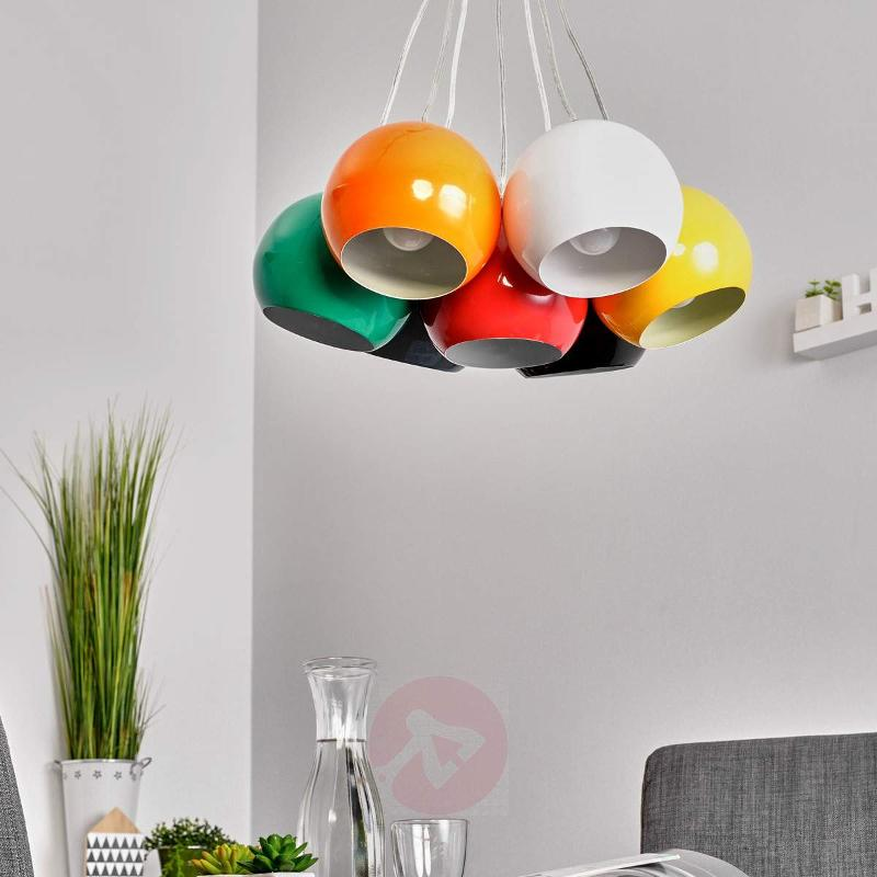 7-light colourful pendant light Pepa - Pendant Lighting