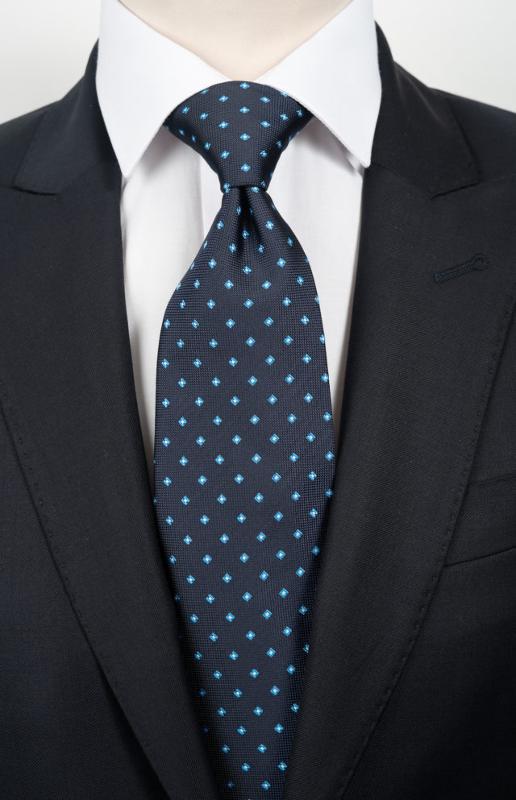 Cravate bleu marine à pois ciel + pochette assortie - Accessoires
