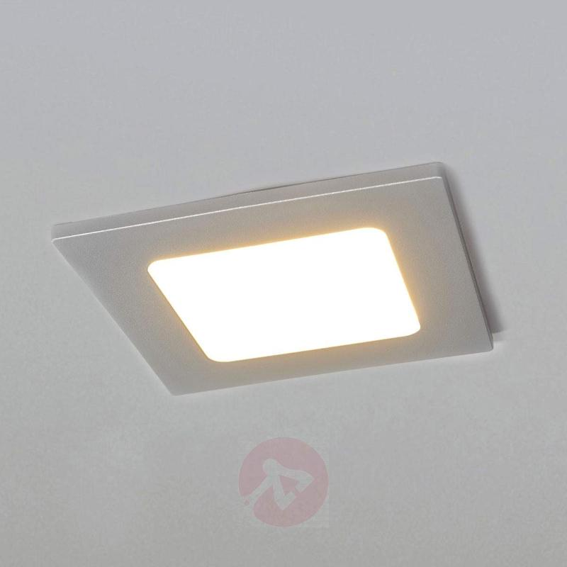 Joki - square LED recessed light in silver - Recessed Spotlights