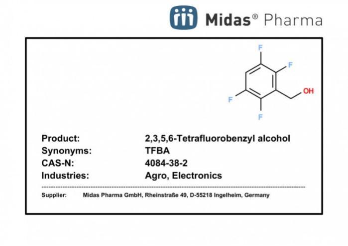 2,3,5,6- alcohol tetrafluorobencílico - 4084-38-2; Building Block; TFBA; Agro, Electro