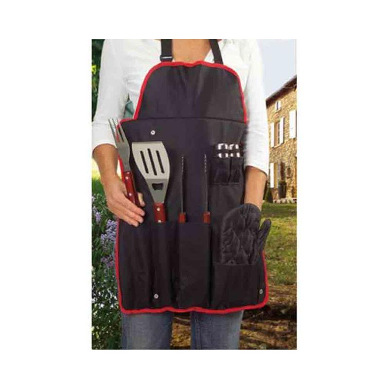 Tablier set barbecue noir/rouge - Le tablier personnalisé