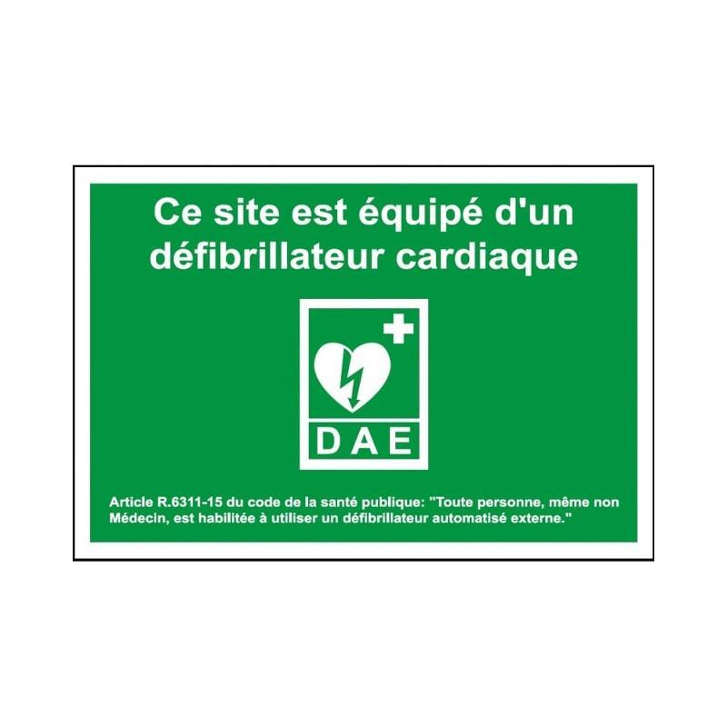 Panneau de secours dae site equipe d'un defibrillateur... - Panneaux de sécurité