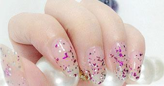 Cosmetics - Purple-White Glitter Transparent Nail Polish