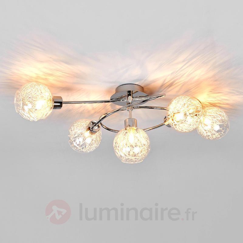 Paulina - plafonnier halogène à cinq lampes - Plafonniers chromés/nickel/inox