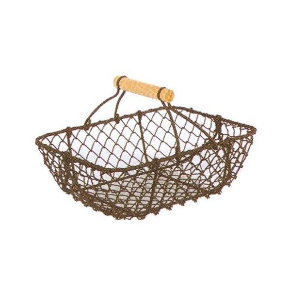 Panier grillage rectangulaire anse bois - null