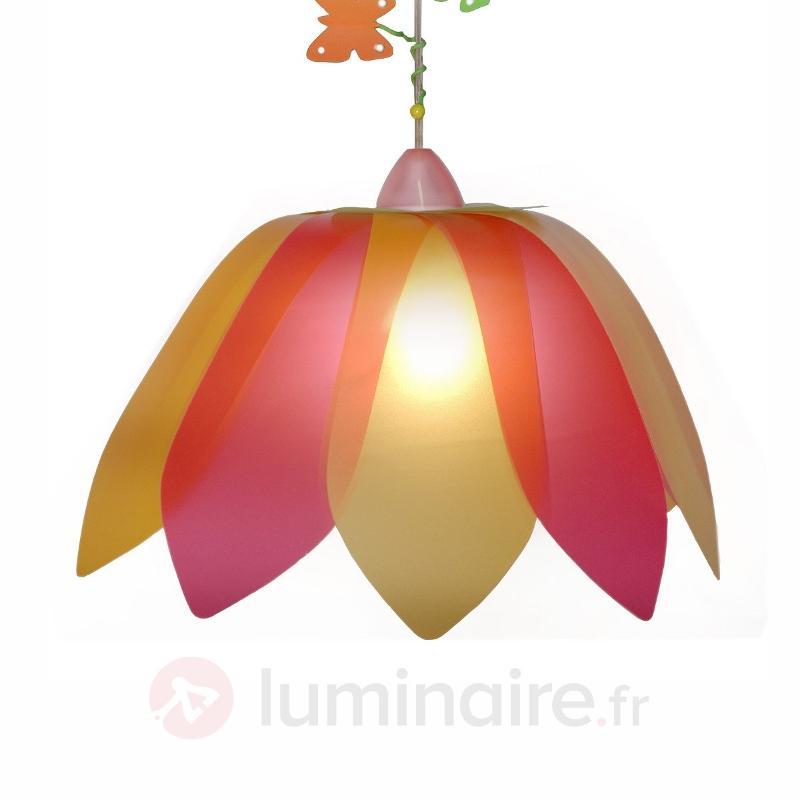 Suspension rouge et jaune Fleur et Papillon - Chambre d'enfant