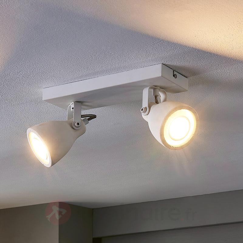 Spot LED à 2 lampes Kadiga en blanc - Spots et projecteurs LED