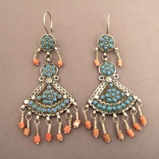 Boucles d'oreilles - Argent, turquoises, coraux, Iran et Afghanistan