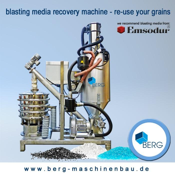 Blasting-media recovery machine - re-use your grains - for the processing of blasting-media used in deflashing machines
