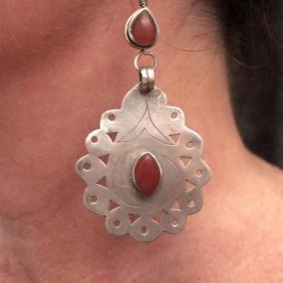 Boucles d'oreilles - Argent, cornalines, Turkménistan