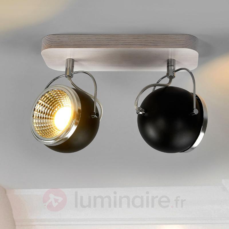 Chêne blanc - plafonnier LED Ball Wood 2 lampes - Spots et projecteurs LED